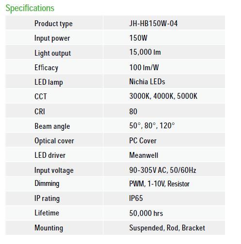 UFO-LED-High-Bay-JH-HB150W-specs