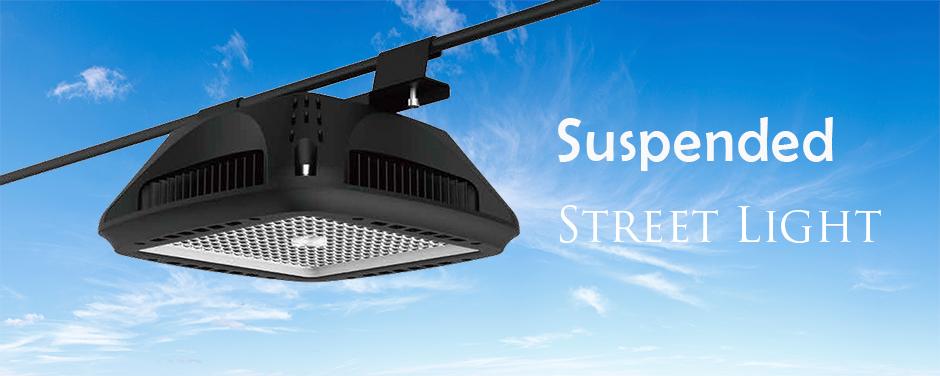 Poleless suspended LED street lighting