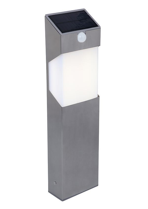 lutec solstel solar powered spike mount led bollard light