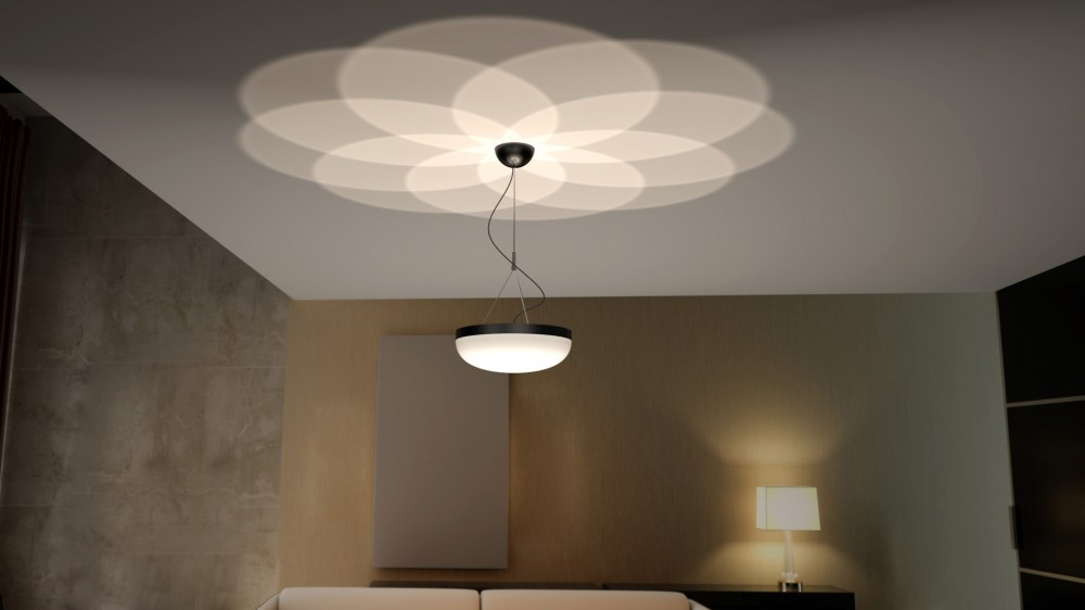 Modern Hanging Light Fixture With Decorative Uplight